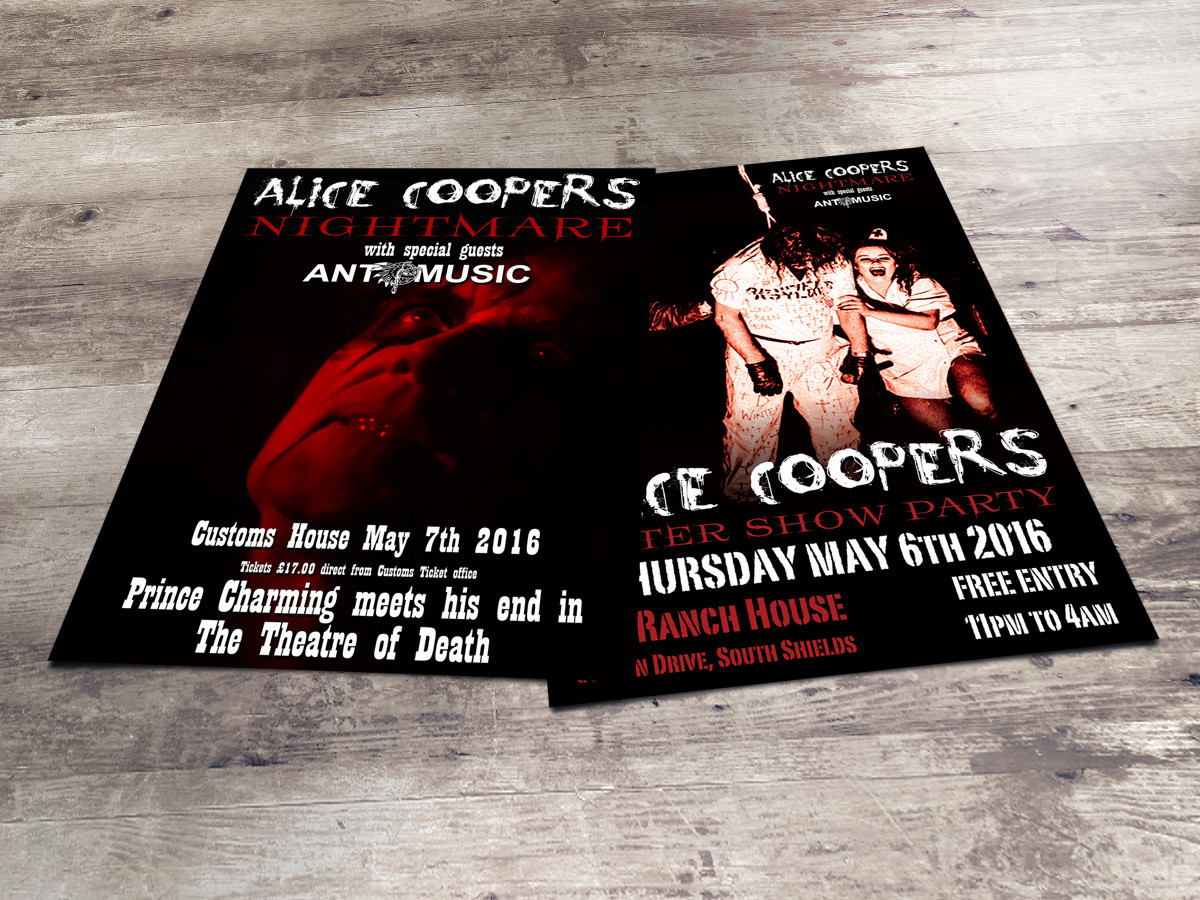 Alice Coopers Nightmare gig flyers