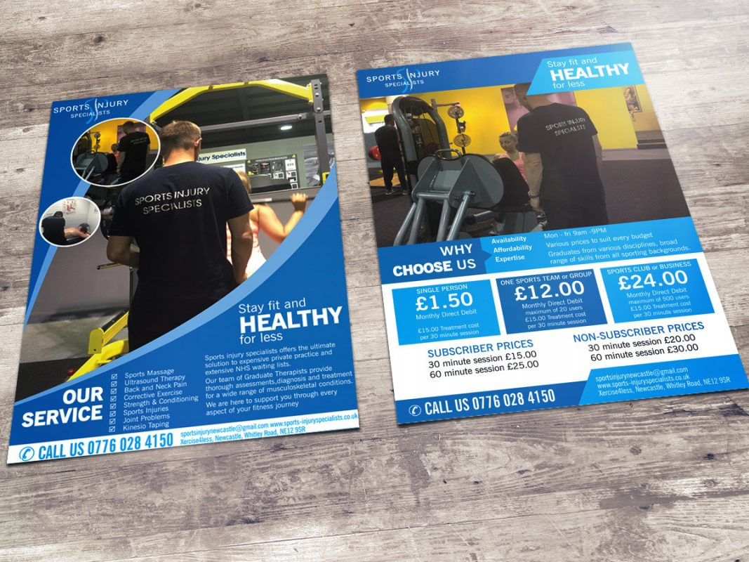 Leaflet and Flyer design for Sports Injury Specialists
