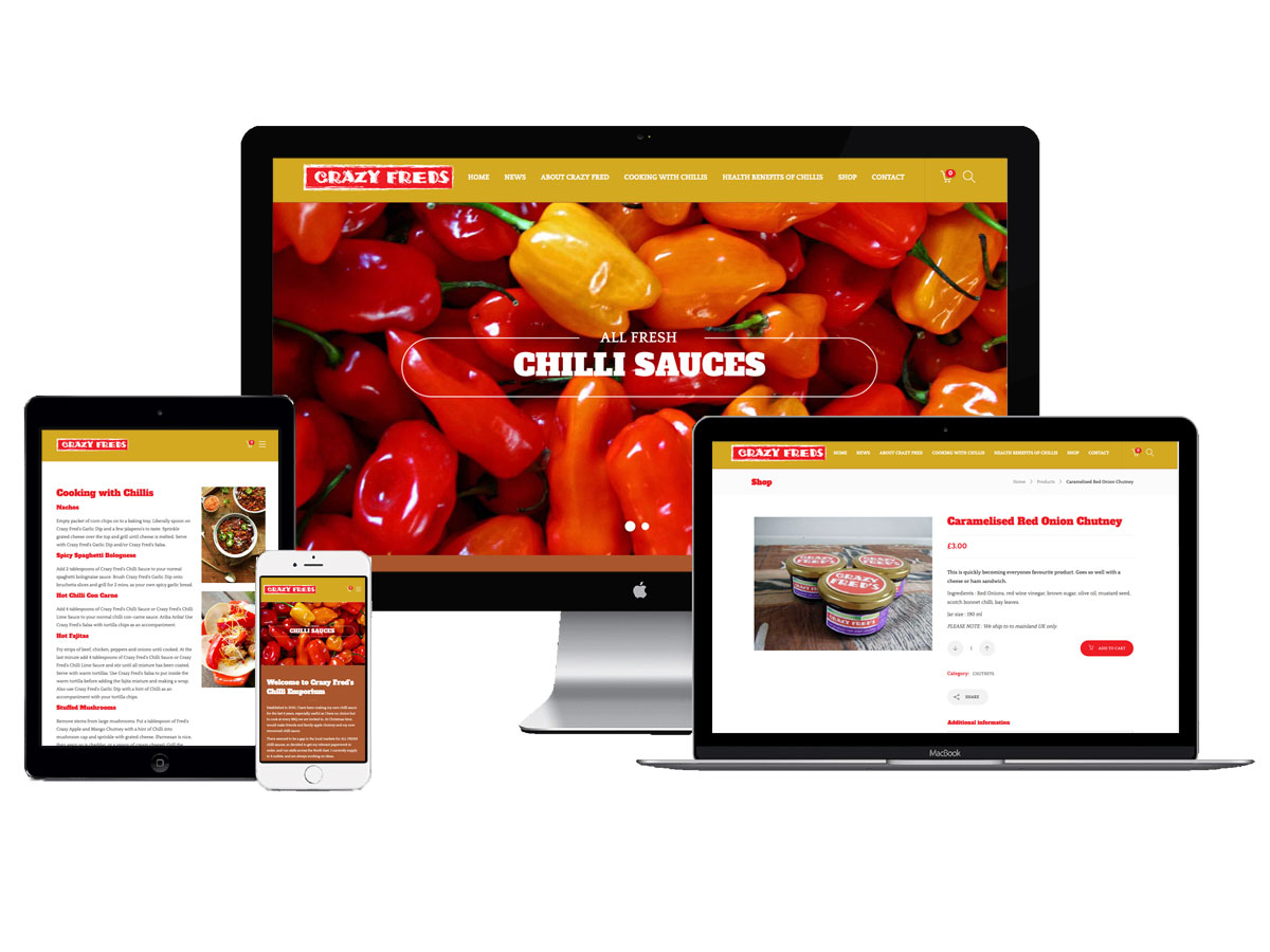 ecommerce website design for Crazy Fred's