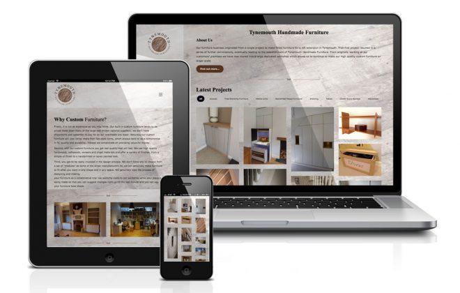 Portfolio style website design for Tynemouth Handmade Furniture