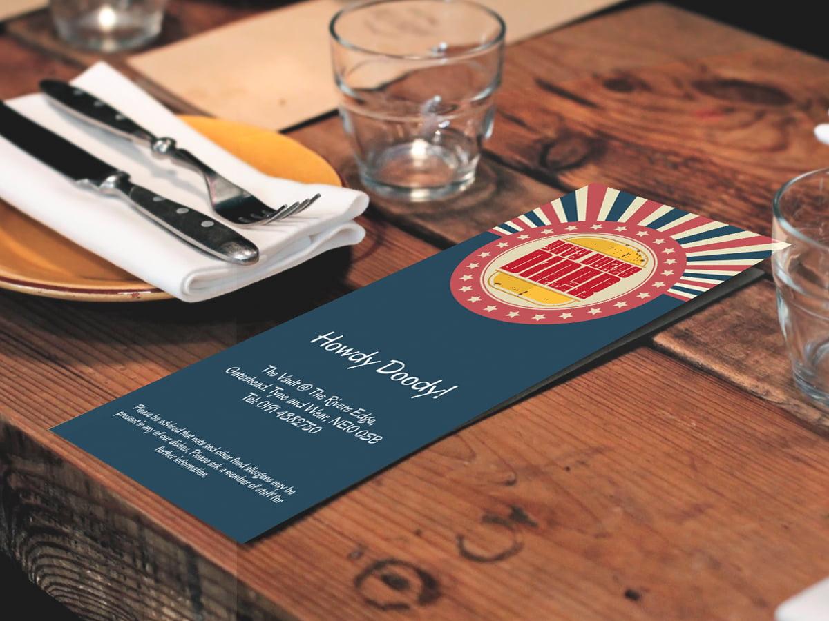 Restaurant Menu Design Davy Dukes Diner