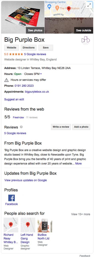Improve Local SEO - Big Purple Box
