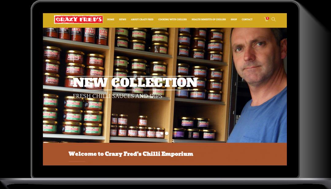 Crazy Fred's E Commerce website design